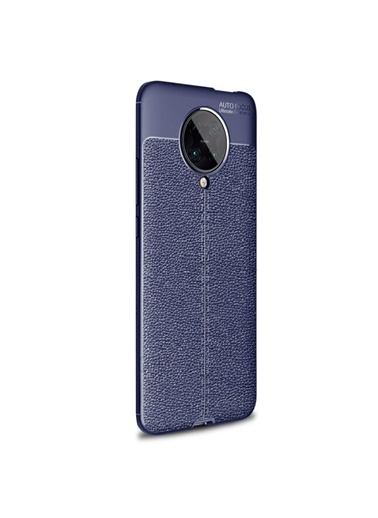 Microsonic Xiaomi Poco F2 Pro Kılıf Deri Dokulu Silikon Kırmızı Lacivert